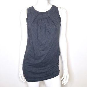Theory charcoal gray pleated ruched sleeveless top